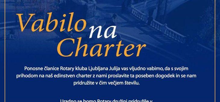 VABILO NA CHARTER ROTARY KLUBA LJUBLJANA JULIJA