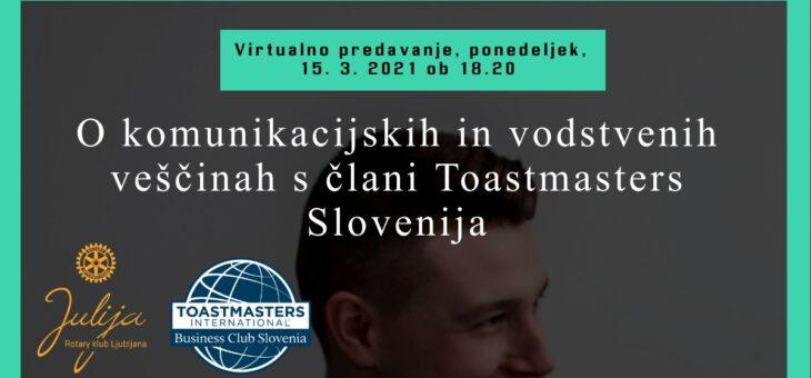 O komunikacijskih in vodstvenih veščinah š člani Toastmasters Slovenija